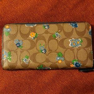 Coach Bags - Coach floral blue trim wallet